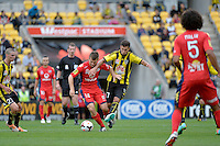 Vince Lia and Cameron Watson during the A League - Wellington Phoenix v Adelaide United, Wellington, New Zealand on Sunday 30 March 2014. <br /> Photo by Masanori Udagawa. <br /> www.photowellington.photoshelter.com.