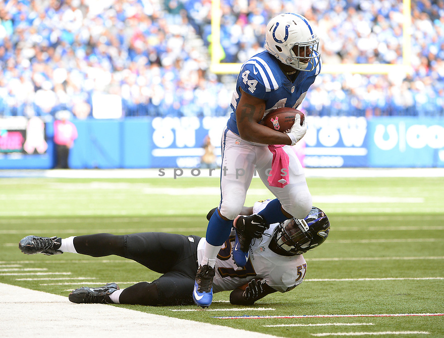 Indianapolis Colts Ahmad Bradshaw (44) during a game against the Baltimore Ravens on October 5, 2014 at Lucas Oil Stadium in Indianapolis, IN. The Colts beat the Ravens 20-13.