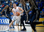 February 15, 2017:  Air Force guard, Zach Kocur #5, drives for the basket during the NCAA basketball game between the University of Nevada Wolfpack and the Air Force Academy Falcons, Clune Arena, U.S. Air Force Academy, Colorado Springs, Colorado.  Nevada defeats Air Force 78-59.