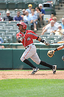 Altoona Curve catcher Carlos Paulino (15) during game against the Trenton Thunder at ARM & HAMMER Park on August 6, 2014 in Trenton, NJ.  Trenton defeated Altoona 7-3.  (Tomasso DeRosa/Four Seam Images)