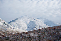 Tjåmuhas mountain peak with fresh autumn snow, Lapland, Sweden