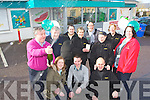 Mike Moriarty from Moriarty's Centra, Farranfore celebrates on Saturday after they found out that the winning ticket for the Euro Miliions Jackpot was sold in their shop worth half a million front row l-r: Ann O'Sullivan, Sean Foley, Maneusz Dabrowski. Back row: Pat Finnegan, Annette O' Shea, Catriona Moynihan, Marie Curtin, Sylwia Dabrowska, Deirdre Matthews and Laura McNamara ..