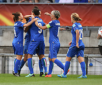 20170721 - TILBURG , NETHERLANDS : Italian players celebrating their goal pictured during the female soccer game between Germany and Italy  , the second game in group B at the Women's Euro 2017 , European Championship in The Netherlands 2017 , Friday 21 th June 2017 at Stadion Koning Willem II  in Tilburg , The Netherlands PHOTO SPORTPIX.BE | DIRK VUYLSTEKE