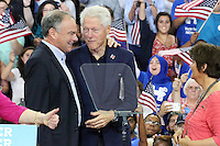 PHILADELPHIA, PA - JULY 29: Democratic presidential candidate Hillary Clinton is joined by her husband former U.S. President Bill Clinton, her running mate U.S. Sen. Tim Kaine (D-VA), and Kaine's wife Anne Holton during a rally a day after accepting the Democratic Party's nomination for president, at Temple University in Philadelphia, Pennsylvania on July 29, 2016 photo credit ©Star Shooter/MediaPunch