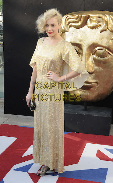 Fearne Cotton.Arrivals at the Arqiva British Academy Television Awards held at the Royal Festival Hall, London, England..May 27th, 2012.BAFTA BAFTAS full length beige gold dress hand on hip.CAP/CAN.©Can Nguyen/Capital Pictures.