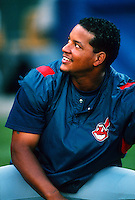 Manny Ramirez of the Cleveland Indians during a game at Anaheim Stadium in Anaheim, California during the 1997 season.(Larry Goren/Four Seam Images)
