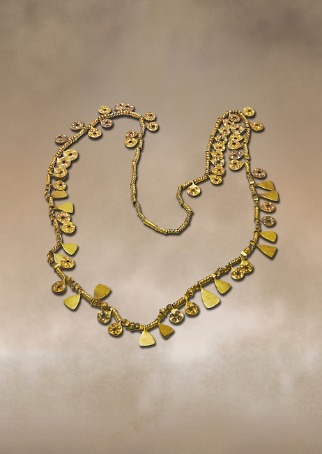 Bronze Age Hattian gold necklace from Grave MA,  possibly a Bronze Age Royal grave (2500 BC to 2250 BC) - Alacahoyuk - Museum of Anatolian Civilisations, Ankara, Turkey. Against a warm art background
