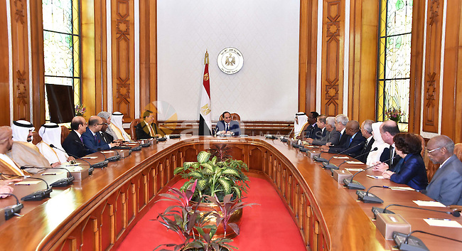 Egyptian President Abdel Fattah el-Sisi, meets with Members of the Arab Health Ministers participating in the meetings of the Council of Arab Health Ministers of the Arab League in Cairo, Egypt on March 01, 2017. Photo by Egyptian President Office
