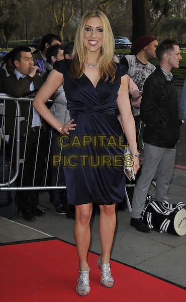 Kate Walsh.The Asian Awards 2013, Grosvenor House Hotel, Park Lane, London, England..April 16th, 2013.full length blue dress silver sandals shoes draped  hand on hip.CAP/DS.©Dudley Smith/Capital Pictures