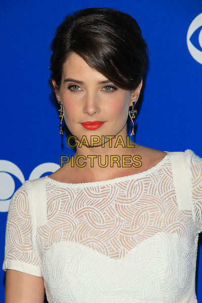 Cobie Smulders.The CBS Upfront 2012 party held in Damrosch Park, Lincoln Center, New York, NY, USA..May 16th, 2012.headshot portrait red lipstick white lace  .CAP/LNC/TOM.©TOM/LNC/Capital Pictures.