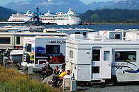RV's and two cruiseships in the campground at Seward, Alaska