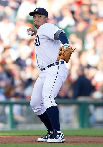 June 05, 2012:  Detroit Tigers third baseman Miguel Cabrera (24) throws the ball to first base during MLB game action between the Cleveland Indians and the Detroit Tigers at Comerica Park in Detroit, Michigan.  The Indians defeated the Tigers 4-2.