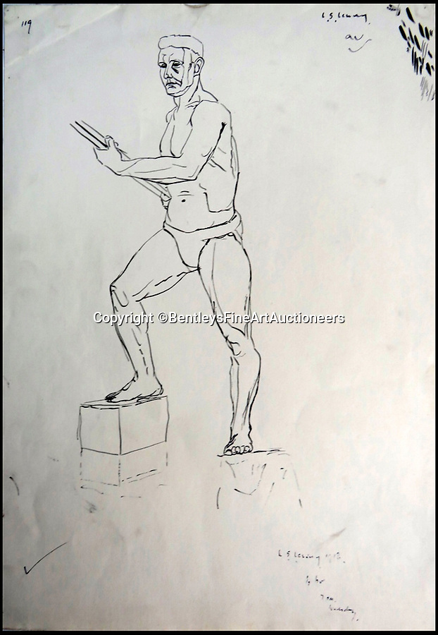 BNPS.co.uk (01202) 558833Pic: BentleysFineArtAuctioneers/BNPS<br /> <br /> Male nude...in his Y-fronts.<br /> <br /> Newly discovered collection reveals that LS Lowry painted a lot more than just matchstick men and matchstick cats and dogs...<br /> <br /> The never-seen-before collection of drawings by the famous Lancashire artist are a far cry from his iconic matchstick figures and have been snapped up by avid collectors for almost £90,000.<br /> <br /> The mostly nude studies show a different side of the Salford artist, whose urban scenes often sell for millions of pounds, and demonstrate that despite being dubbed a 'naive Sunday painter' he had considerable talent for drawing people.<br /> <br /> The 19 pictures are mostly signed and dated to 1911 to 1919, when Lowry was studying art in his spare time before he developed his signature style.<br /> <br /> The seller, who wants to remain anonymous, inherited the portfolio from their grandfather and did not believe they could be Lowry when they saw the signature.