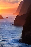 Sunrise at the North Kohala Coast from the Pololu Valley on the Island of Hawaii.
