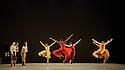 "London, UK. 29.03.2016. Richard Alston Dance Company presents ""An Italian In Madrid"" at Sadler's Wells. horeographed by Richard Alston, lighting design by Karl Oskar Sordal, costume design by Fotini Dimou. Picture shows: Ihsaan de Banya, Liam Riddick, Nicholas Bodych, James Muller, Ryan Ledger, Jennifer Hayes, Nancy Nerantzi, Elly Braund, Oihana Vesga Bujan, Sharia Johnson, Vidya Patel. Photograph © Jane Hobson."