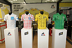 The leaders jerseys on display in the Tour Village before Stage 1 of the 2019 Tour de France running 194.5km from Brussels to Brussels, Belgium. 6th July 2019.<br /> Picture: ASO/Olivier Chabe | Cyclefile<br /> All photos usage must carry mandatory copyright credit (© Cyclefile | ASO/Olivier Chabe)