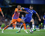 Chelsea's Diego Costa tussles with Manchester City's Fabien Delph during the Premier League match at the Stamford Bridge Stadium, London. Picture date: April 5th, 2017. Pic credit should read: David Klein/Sportimage