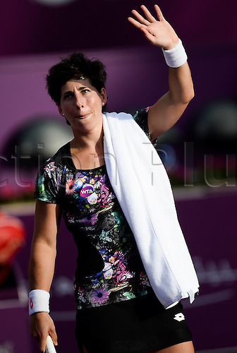 24.02.2016. Doha, Qatar.  Carla Suarez Navarro of Spain greets the spectators after the singles third round match against Timea Bacsinszky of Switzerland at the WTA Tennis Damen Qatar Open 2016 in Doha, Qatar, Feb. 24, 2016. Carla Suarez Navarro won 2-0.