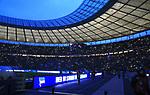 16.03.2019, OLympiastadion, Berlin, GER, DFL, 1.FBL, Hertha BSC VS. Borussia Dortmund, <br /> DFL  regulations prohibit any use of photographs as image sequences and/or quasi-video<br /> <br /> im Bild Olympiastadion, blaue Stunde, Handlicher<br /> <br />       <br /> Foto © nordphoto / Engler