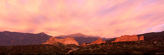 Colorful morning sky above sandstone formations, Garden of the Gods, Colorado Springs, CO