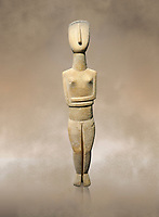 Female Cycladic Canonical type, Spedos variety female figurine statuette. Early Cycladic Period II from Syros phase (2800-2300 BC). Museum of Cycladic Art Athens,<br /> <br /> The cycladic figurine has a band etched high on its forehead and a large area on the back of the head of spiralling curls. The surface has probably been protected by paint and the outline of the left eye paint is still detectable as a greyish tinge. It can be assumed that both hair and eyes were painted. Canonical type, Spedos variety