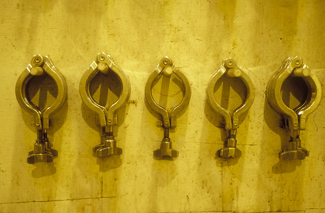 Hose clamps hang in winery.