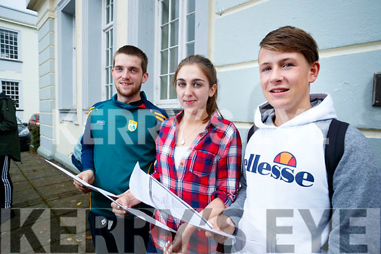 Gaelcholáiste Chiarraí students pictured after opening their Leaving Certificate results on Wednesday morning last were l-r: Padraig Ó Néill, Kayla Ní Riagáin and Eoin Mac Giolla Ghunna.