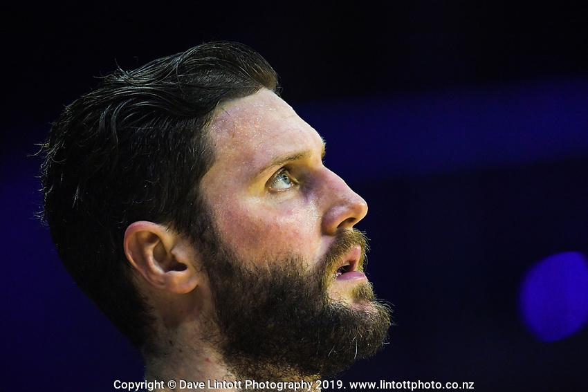 Sharks forward Alex Pledger during the national basketball league match between Cigna Wellington Saints and Southland Sharks at TSB Bank Arena in Wellington, New Zealand on Thursday, 25 April 2019. Photo: Dave Lintott / lintottphoto.co.nz