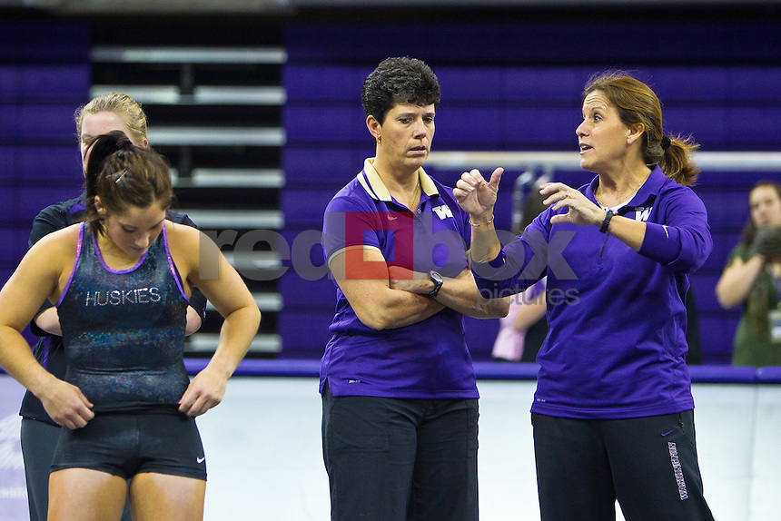 Kathy Thompson - Athletic Trainer - Joanne Bowers - Head Coach - The University of Washington gymnasticsA team competes in their annual intrasquad meet at Alaska Airlines Arena Saturday, Dec. 11, 2011. (Photography by Andy Rogers/Red Box Pictures)
