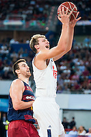 Real Madrid's player Luka Doncic and FC Barcelona Lassa's player Victor Claver during the match of the semifinals of Supercopa of La Liga Endesa Madrid. September 23, Spain. 2016. (ALTERPHOTOS/BorjaB.Hojas)