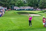 CROMWELL, CT. 20 June 2019-062019 - PGA Tour player Brooks Koepka hits his approach shot on the ninth hole, his 18th ole for the day, during the first round of the Travelers Championship at TPC River Highlands in Cromwell on Thursday. Bill Shettle Republican-American