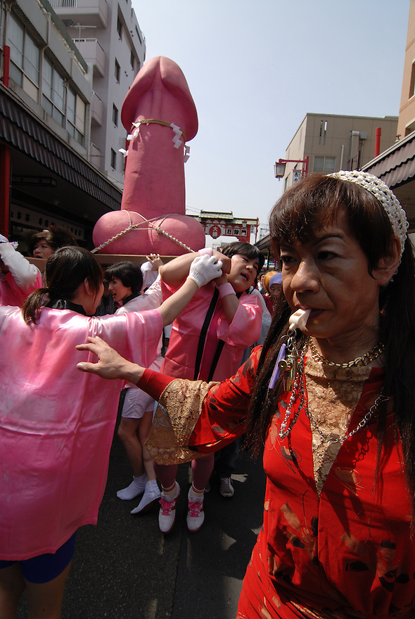Kanamara festival of the steel phallus in Kawasaki, Japan, 1st April 2007. The shrine was originally to set up by prostitutes to pray for protection from syphillis. Now the yearly festival raises money for HIV research.