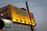 The original Nathan's Famous restaurant stands is pictured on Coney Island in New York city borough of Brooklyn, Sunday July 31, 2011. The original Nathan's restaurant stands, a company that operates a chain of U.S.-based fast food restaurants specializing in hot dogs, is located at the corner of Surf and Stillwell Avenues in Brooklyn.
