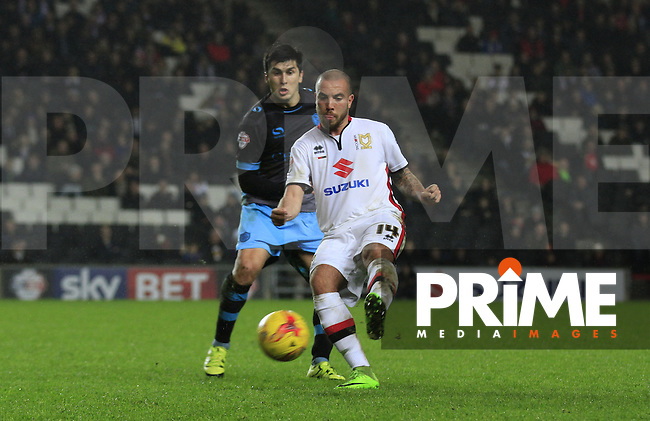Samir Carruthers with a pass during the Sky Bet Championship match between MK Dons and Sheff Wednesday at stadium:mk, Milton Keynes, England on 15 December 2015. Photo by Liam Smith.