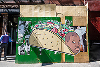 New York, NY 7 September 2015 - Street art by Hanksy titled Kanye Asada that depicts Kanye West as a taco.