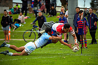 Willie Paia'aua scores during the Heartland championship rugby match between Horowhenua Kapiti and East Coast at Otaki Domain in Otaki, New Zealand on Saturday, 23 September 2017. Photo: Dave Lintott / lintottphoto.co.nz