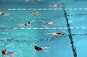 Swimmers in the pool at Camden Council's Oasis Sports Centre, Holborn, London.
