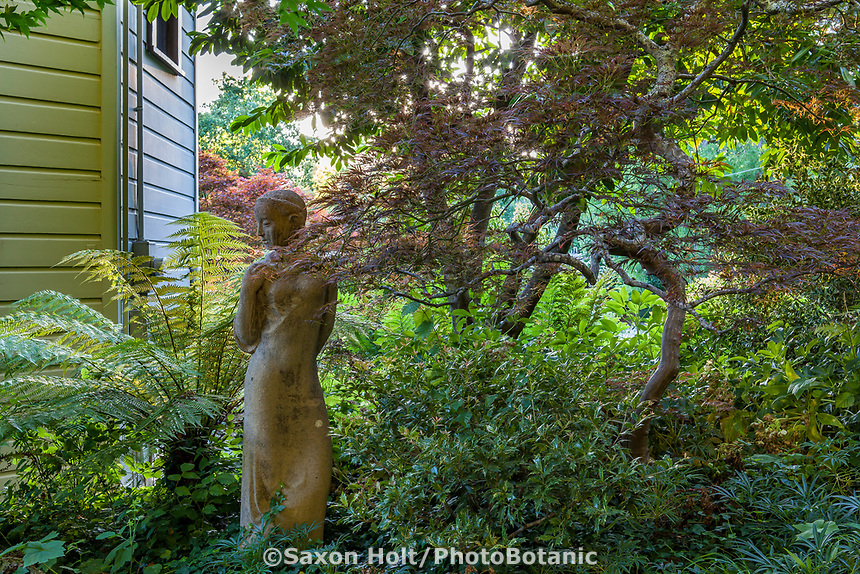 Statue in shady garden, Marin Art and Garden Center, Ross, California