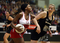 25.10.2012 Silver Ferns Camilla Lees and England's Eboni Beckford-Chambers in action during the Silver Ferns v England netball test match as part of the Quad Series played at the TSB Arena Wellington. Mandatory Photo Credit ©Michael Bradley.
