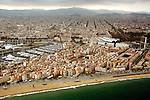 Aerial view of downtown Barcelona Beach and housing.