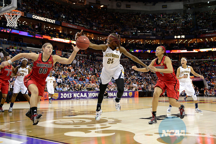 07 APR 2013:  Antonita Slaughter (4) and Sara Hammond (00) of the University of Louisville and Gennifer Brandon (25) of the University of California race after a loose ball during the Division I Women's Basketball Championship in New Orleans, LA.  Louisville defeated California 64-57 to advance to the national title game.  Jamie Schwaberow/NCAA Photos