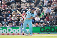 Jonny Bairstow (England) evades a short delivery from Andre Russell (West Indies)  during England vs West Indies, ICC World Cup Cricket at the Hampshire Bowl on 14th June 2019