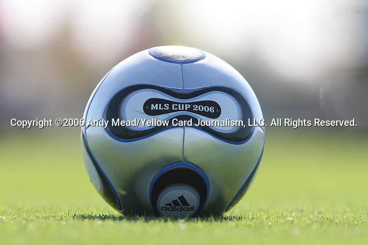 10 November 2006: The official MLS Cup 2006 game ball, a silver version of the regular Adidas +teamgeist game ball. The Houston Dynamo held a training session on Field 1 at Pizza Hut Park in Frisco, Texas two days before playing in MLS Cup 2006, Major League Soccer's championship game.