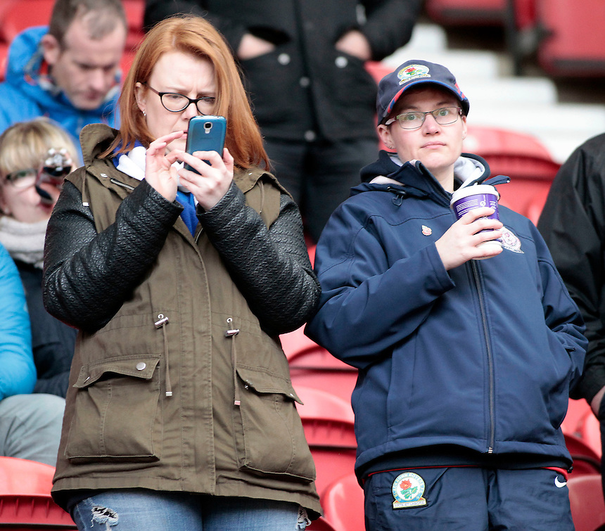 Blackburn Rovers fans before kick off<br /> <br /> Photographer David Shipman/CameraSport<br /> <br /> Football - The Football League Sky Bet Championship - Middlesbrough v Blackburn Rovers - Saturday 6th February 2016 - Riverside Stadium - Middlesbrough <br /> <br /> &copy; CameraSport - 43 Linden Ave. Countesthorpe. Leicester. England. LE8 5PG - Tel: +44 (0) 116 277 4147 - admin@camerasport.com - www.camerasport.com