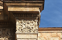 Sculptural detail from the main facade, part of a cycle representing the seasons, on the Catedral Nuestra Senora de la Encarnacion, or the Basilica Cathedral of Santa Maria la Menor, dedicated to St Mary of the Incarnation, built 1514-35 in Renaissance and Gothic style, in the Colonial Zone of Santo Domingo, capital of the Dominican Republic, in the Caribbean. The building is also known as the Catedral Primada de America as it is the oldest cathedral in the Americas. Santo Domingo's Colonial Zone is listed as a UNESCO World Heritage Site. Picture by Manuel Cohen