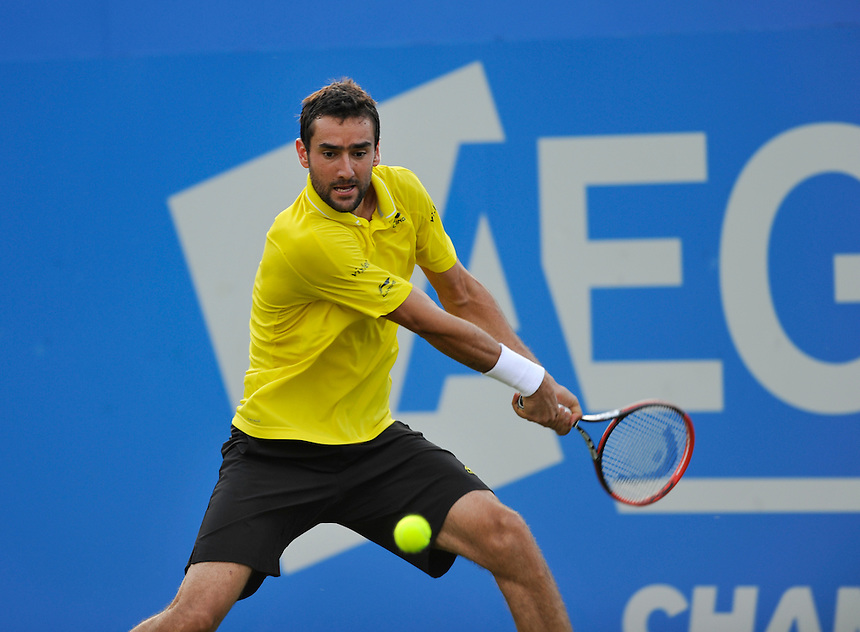 Marin Cilic (CRO) in action today during his victory over Adrian Mannarino (FRA) in their Men&rsquo;s Singles First Round match - Marin Cilic (CRO) def Adrian Mannarino (FRA) 7-6, 3-6, 6-2<br /> <br /> Photographer Ashley Western/CameraSport<br /> <br /> Tennis - ATP 500 World Tour - AEGON Championships- Day 2 - Tuesday 16th June 2015 - Queen's Club - London <br /> <br /> &copy; CameraSport - 43 Linden Ave. Countesthorpe. Leicester. England. LE8 5PG - Tel: +44 (0) 116 277 4147 - admin@camerasport.com - www.camerasport.com