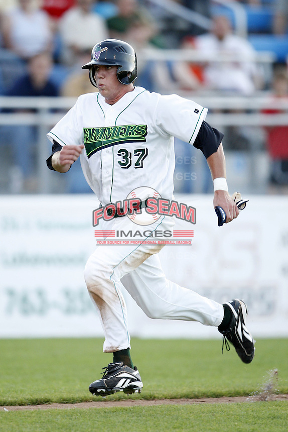 June 23, 2009:  Sequoyah Stonecipher of the Jamestown Jammers scores a run during a game at Russell Diethrick Park in Jamestown, NY.  The Jammers are the NY-Penn League Short-Season Class-A affiliate of the Florida Marlins.  Photo by:  Mike Janes/Four Seam Images