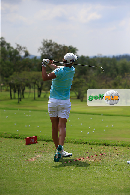 Lee-Anne Pace (RSA) on the driving range during the Tuesday Practice Day of the Honda LPGA at the Siam Country Club Old Course in Pattaya on Tuesday 24th February 2015.<br /> Picture:  Thos Caffrey / www.golffile.ie