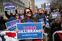 NEW YORK, NY - MARCH 24: Democratic presidential candidate U.S. Sen. Kirsten Gillibrand (D-NY) greets supporters during a rally in front of Trump International Hotel & Tower on March 24, 2019 in New York City. (Photo by Kena Betancur/VIEWpress)