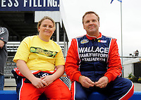 Oct. 30, 2009; Talladega, AL, USA; NASCAR Camping World Truck Series driver Chrissy Wallace (left) and father Mike Wallace during qualifying for the Mountain Dew 250 at the Talladega Superspeedway. Mandatory Credit: Mark J. Rebilas-